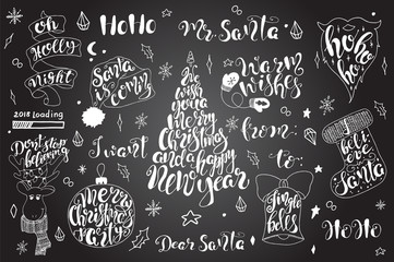 Merry Christmas quotes lettering set Happy New Year 2018 Typography designs
