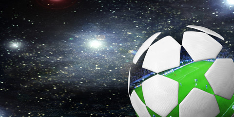 Fototapete - Soccer ball in the background of the starry sky.