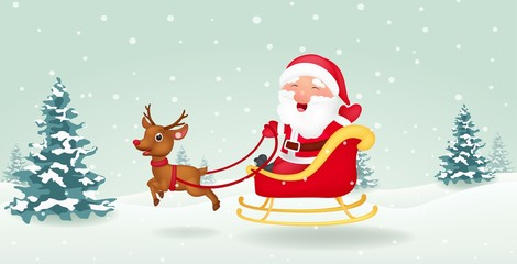 Santa with christmas sled