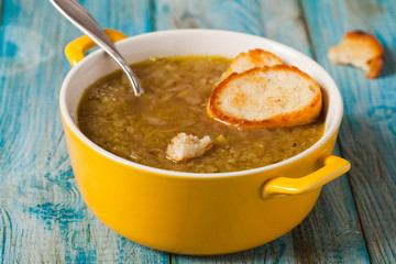 Classic onion soup with croutons.