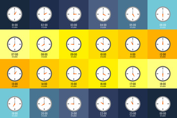 TWENTY FOUR HOURS clocks shows what time it is on different color background. Every hour is indicate with number.