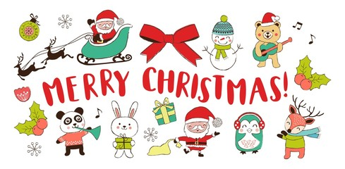 Hand drawn Christmas design elements and cute cartoon Christmas characters. Vector illustration.