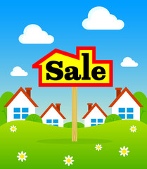Sign on the background of the sale of new homes. New housing for sale. Sale in an ecologically clean area. The sign housing sales.