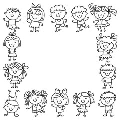 Frame with kids School, kindergarten. Happy children. Creativity, imagination doodle icons with kids. Play, study, grow Happy students Science and research Adventure Explore