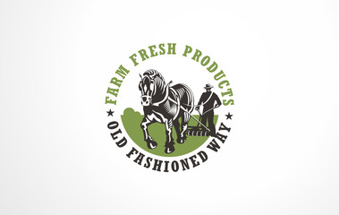 Farm fresh products logo concepts with farm landscapes, organic vegetables, plants, sun shapes and farmer working with horse on the field. Vector signs and symbols. Farm logo.
