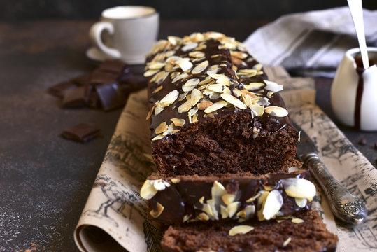 Chocolate banana cake with almond.