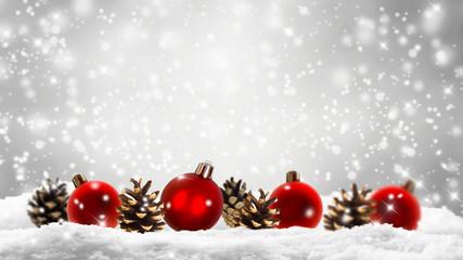 rote christbaumkugeln, schnee, tannenzapfen, weihnachtsdeko