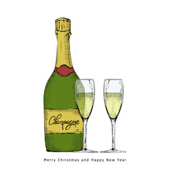 Realistic champagne bottle with glasses. Christmas drink. Hand drawn vector illustration on a white background.