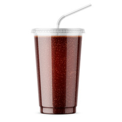 Clear disposable plastic cup with cola.
