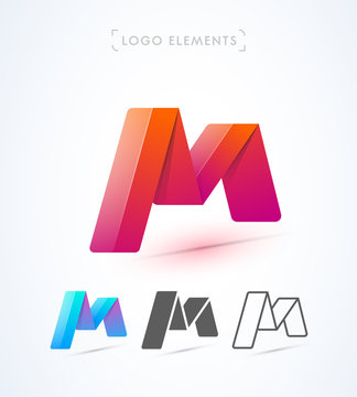 Origami letter M logo template. Vector abstract icon collection. Material design, flat, line-art style