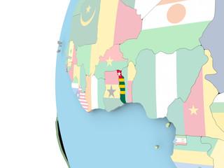 Flag of Togo on political globe