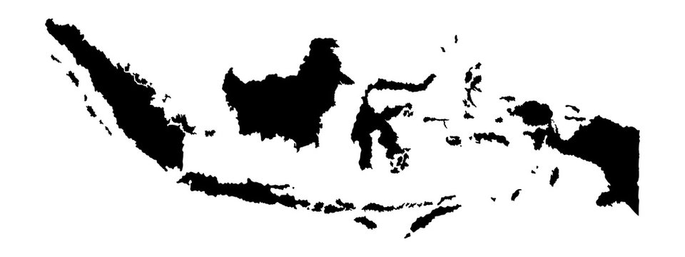 Indonesia vector map isolated on white background silhouette. High detailed illustration.