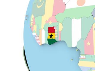 Flag of Ghana on political globe