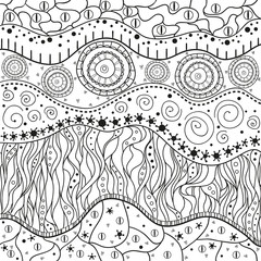 Square mandala. Abstract eastern pattern. Zentangle. Hand drawn isolated texture with abstract patterns. Line art creation. Illustration for coloring. Design for spiritual relaxation for adults.