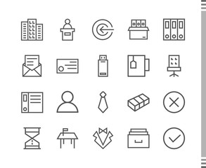 Flat vector icons with a thin line. Set for mobile applications. Business and Sales