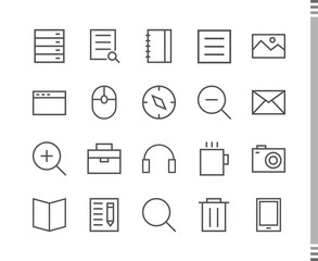Flat vector icons with a thin line. Set for mobile applications. Science and education
