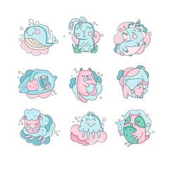Cute cartoon baby animals sleeping set, sweet dreams concept vector Illustration