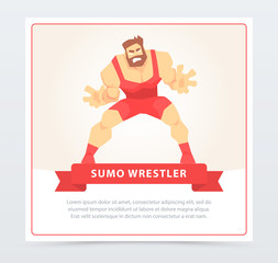 Sumo wrestler banner, cartoon vector element for website or mobile app