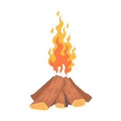 Bonfire, campfire logs burning cartoon vector Illustration