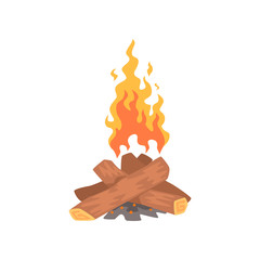 Bonfire, camping fire cartoon vector Illustration