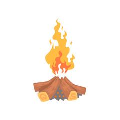 Burning bonfire campfire logs cartoon vector Illustration
