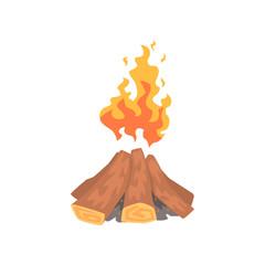 Campfire logs burning cartoon vector Illustration