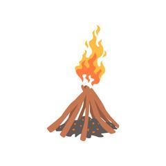 Bonfire, camping fire, logs burning cartoon vector Illustration
