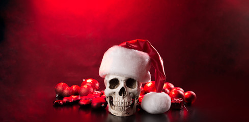 New year's skull. The concept of the poster to the Christmas party