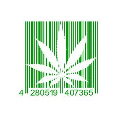 Icono plano codigo de barras marihuana verde en fondo blanco