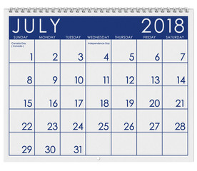 2018 Calendar: Month Of July With Independence Day
