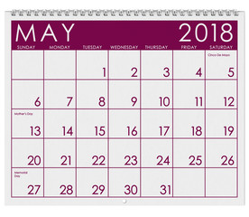 2018 Calendar: Month Of May With Mother's Day