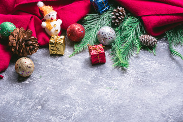Top view of christmas decoration on gray grunge backgrond. Free space for text