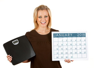 2018 Calendar: Woman Excited To Diet In January