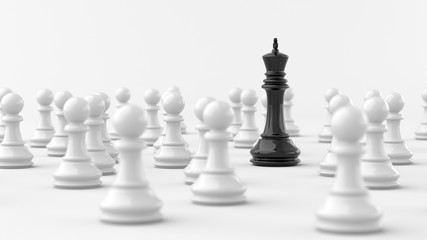Leadership concept, black king of chess among white pawns. 3D Rendering.