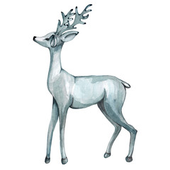 Silver watercolor deer.