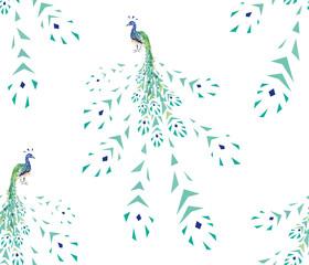 peacock fragmentation seamless pattern