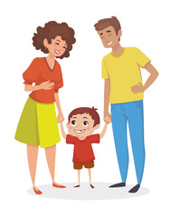 Happy family. Little boy holding hands with parents. People are laughing. Vector illustration.