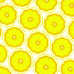 Pattern with fresh ripe sliced lemon. Colorful background, vector illustration