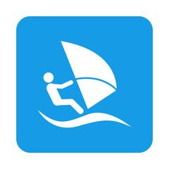 Icono plano windsurf en cuadrado azul