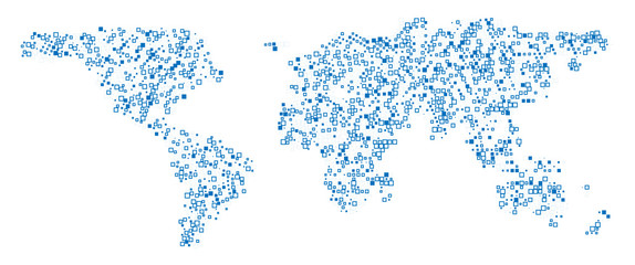 World map technology-style. Abstract  World Map with square shapes for infographic.Travel Vector Illustration on white background.