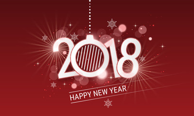 Happy New Year 2018 white inscription with christmas ball. Vector design with stars, snowflakes and glitter for your greeting card or banner.