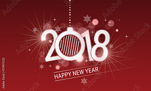 happy new year 2018 white inscription with christmas ball vector design with stars snowflakes