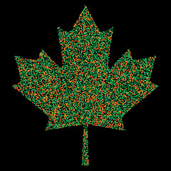 Pixel Confetti of colorful shades falling maple leafs. Mosaic print. For advertising booklets about the sale, covers, posters, invitation card, textile, leaflets design. Summer and autumn theme sale.