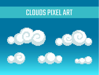 Pixel art stylized clouds.