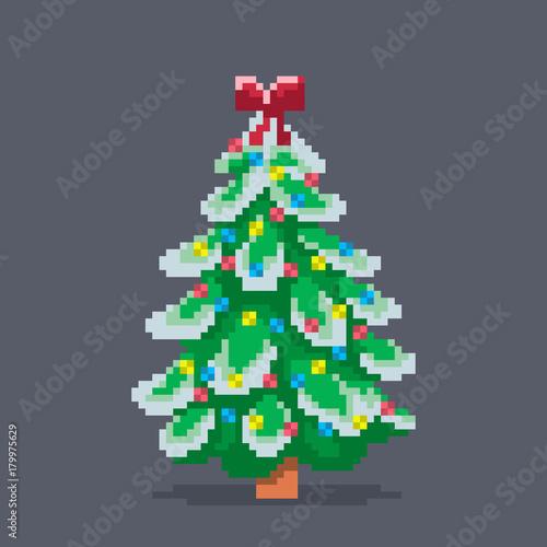 Pixel art decorated christmas tree.