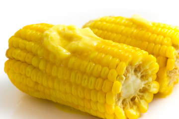 Cooked Corn Cob with butter. Milho verde