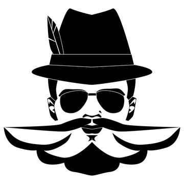 Hunter hat with feather. Traditional Bavarian hunting hat with feather. German man staying in Bavarian hat and moustache, bearder, glasses. Vector illustration.