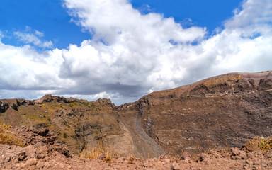 Vesuvius volcano National park panorama at sunny day.