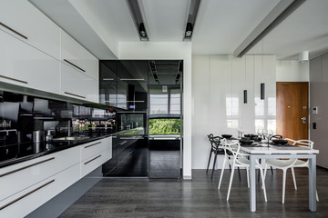 Contemporary kitchen with table