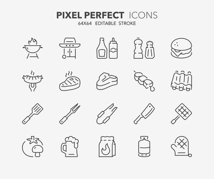 barbecue and grill thin line icons